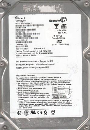 ST3120025ACE, 5JT, WU, PN 9W6023-177, FW 9.51, Seagate 120GB IDE 3.5 Hard Drive
