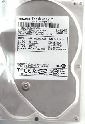 HDP725025GLA380, PN 0A37771, MLC BA2983, Hitachi 250GB SATA 3.5 Hard Drive