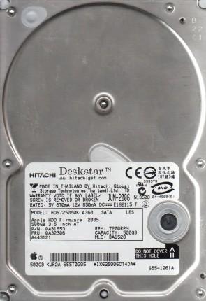 HDS725050KLA360, PN 0A31653, MLC BA1528, Hitachi 500GB SATA 3.5 Hard Drive