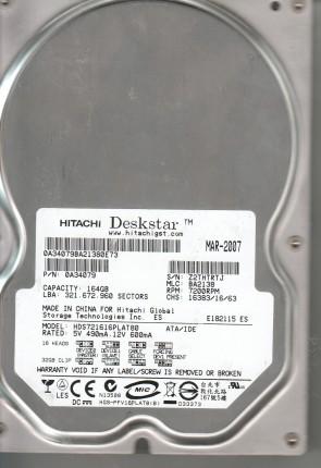 HDS721616PLAT80, PN 0A34079, MLC BA2138, Hitachi 164GB IDE 3.5 Hard Drive