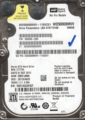 WD5000BMVV-11SXZS1, DCM HBOTJBBN, Western Digital 500GB USB 2.5 Hard Drive
