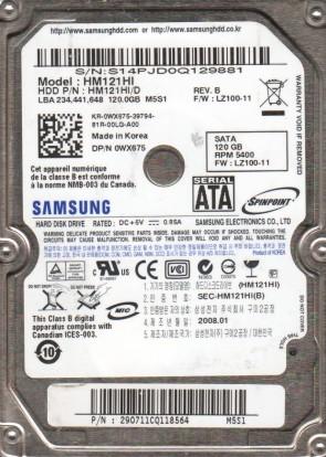 HM121HI, HM121HI/D, FW LZ100-11, M5S1, Samsung 120GB SATA 2.5 Hard Drive