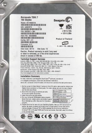 ST3160021A, 4JS, TK, PN 9W2001-364, FW 8.01, Seagate 160GB IDE 3.5 Hard Drive