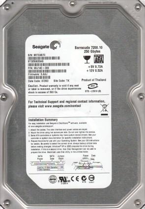 ST3250620AS, 9RT, TK, PN 9BJ14E-308, FW 3.AAJ, Seagate 250GB SATA 3.5 Hard Drive