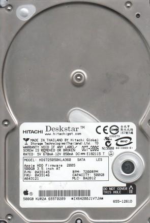 HDS725050KLA360, PN 0A33145, MLC BA2012, Hitachi 500GB SATA 3.5 Hard Drive
