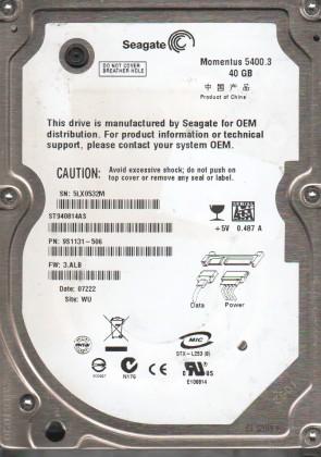 ST940814AS, 5LX, WU, PN 9S1131-506, FW 3.ALB, Seagate 40GB SATA 2.5 Hard Drive