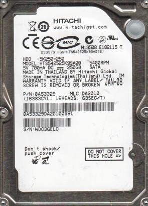 HTS542525K9SA00, PN 0A53329, MLC DA2010, HITACHI 250GB SATA 2.5 Hard Drive