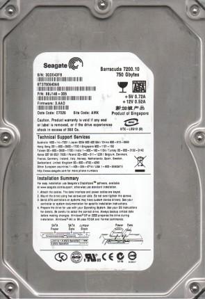 ST3750640AS, 9BJ, AMK, PN 9BJ148-305, FW 3.AAD, Seagate 750GB SATA 3.5 Hard Drive