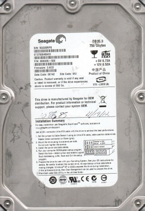 ST3750840ACE, 5QD, WU, PN 9BK038-500, FW 3.ACD, Seagate 750GB IDE 3.5 Hard Drive