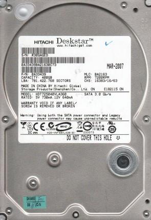 HDT725040VLA360, PN 0A33439, MLC BA2163, Hitachi 400GB SATA 3.5 Hard Drive