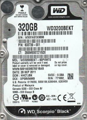 WD3200BEKT-60PVMT0, DCM HHCTJBK, Western Digital 320GB SATA 2.5 Hard Drive