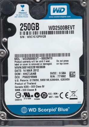 WD2500BEVT-00S2MT0, DCM HHCTJANB, Western Digital 250GB SATA 2.5 Hard Drive