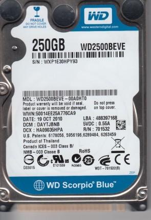 WD2500BEVE-00A0HT0, DCM DAYTJBNB, Western Digital 250gb IDE 2.5 Hard Drive
