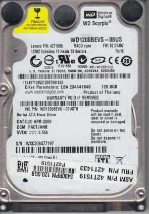 WD1200BEVS-08UST0, DCM FACTJANB, Western Digital 120GB SATA 2.5 Hard Drive