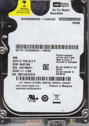 WD3200BMVW-11AMCS2, DCM HAOT2HB, Western Digital 320GB USB 2.5 Hard Drive