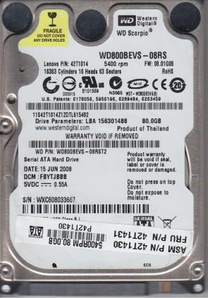WD800BEVS-08RST2, DCM FBYTJBBB, Western Digital 80GB SATA 2.5 Hard Drive