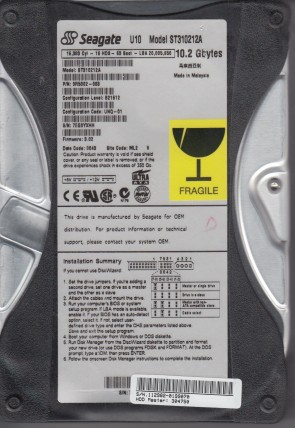 ST310212A, 7EG, ML2, PN 9R5002-003, FW 3.02, Seagate 10.2GB IDE 3.5 Hard Drive