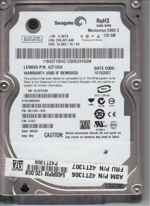 ST9120822AS, 5LZ, WU, PN 9S1133-070, FW 3.CLF, Seagate 120GB SATA 2.5 Hard Drive