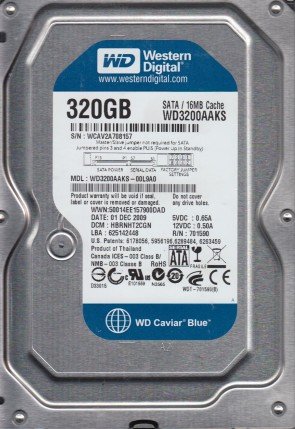 WD3200AAKS-00L9A0, DCM HBRNHT2CGN, Western Digital 320GB SATA 3.5 Hard Drive