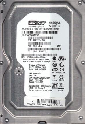 WD1600AAJS-65WAA0, DCM HHRNHT2EAN, Western Digital 160GB SATA 3.5 Hard Drive