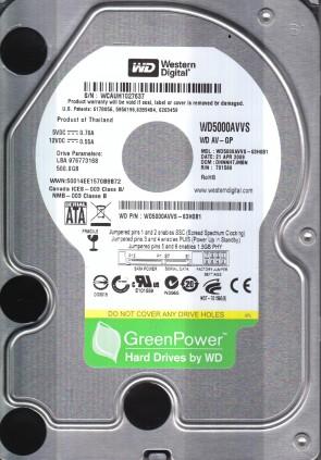 WD5000AVVS-63H0B1, DCM DHNNHTJMBN, Western Digital 500GB SATA 3.5 Hard Drive
