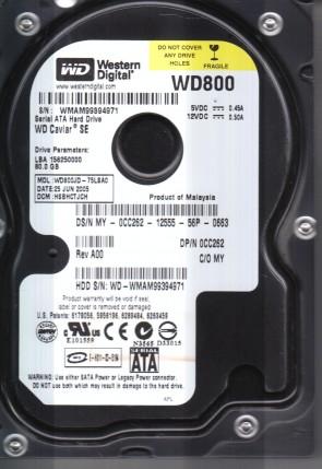 WD800JD-75LSA0, DCM HSBHCTJCH, Western Digital 80GB SATA 3.5 Hard Drive
