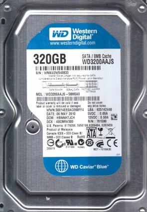 WD3200AAJS-56M0A0, DCM HBNNHTJCH, Western Digital 320GB SATA 3.5 Hard Drive