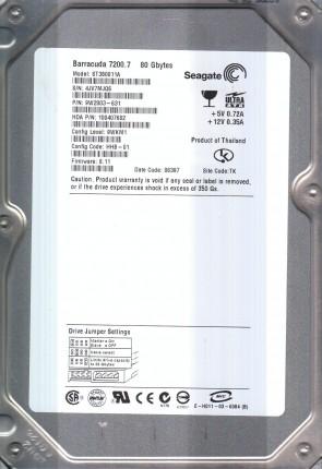 ST380011A, 4JV, TK, PN 9W2003-631, FW 8.11, Seagate 80GB IDE 3.5 Hard Drive