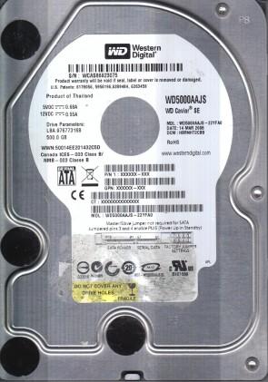 WD5000AAJS-22YFA0, DCM HBRNHT2CBB, Western Digital 500GB SATA 3.5 Hard Drive