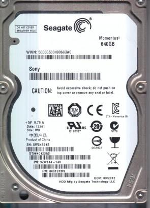 ST9640423AS, 5WS, WU, PN 9ZW144-140, FW 0001SYM1, Seagate 640GB SATA 2.5 Hard Drive