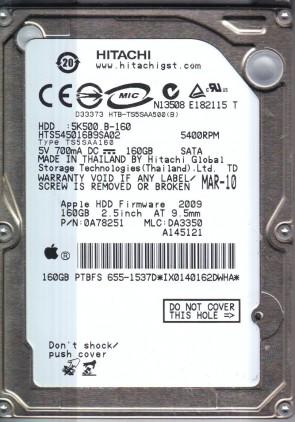 HTS545016B9SA02, PN 0A78251, MLC DA3350, Hitachi 160GB SATA 2.5 Hard Drive
