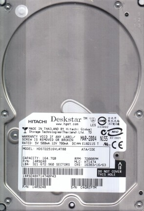 HDS722516VLAT80, PN 14R9248, MLC H71474, Hitachi 164.7GB IDE 3.5 Hard Drive
