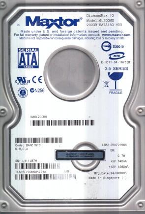 6L200M0, Code BANC1G10, KMCA, Maxtor 200GB SATA 3.5 Hard Drive
