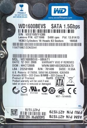 WD1600BEVS-08VAT1, DCM HHCT2BBB, Western Digital 160GB SATA 2.5 Hard Drive