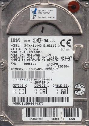 DCMA-21440, PN 46H6111, MLC E66984, IBM 1.4GB IDE 2.5 Hard Drive