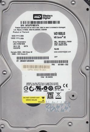 WD1600JS-70SGB1, DCM DBBACTJCHN, Western Digital 160GB SATA 3.5 Hard Drive