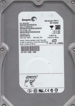 ST3300831AS, 5NF, WU, PN 9Y7384-020, FW 3.03, Seagate 300GB SATA 3.5 Hard Drive
