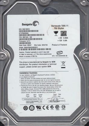 ST3750630AS, 9QK, KRATSG, PN 9BX146-100, FW LC11, Seagate 750GB SATA 3.5 Hard Drive