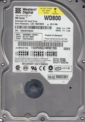 WD800BB-23CAA1, DCM HSEHNA2AH, Western Digital 80GB IDE 3.5 Hard Drive