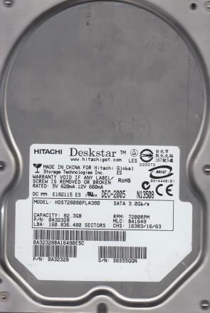 HDS728080PLA380, PN 0A32328, MLC BA1649, Hitachi 82.3GB SATA 3.5 Hard Drive