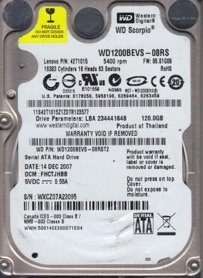 WD1200BEVS-08RST2, DCM FHCTJHBB, Western Digital 120GB SATA 2.5 Hard Drive