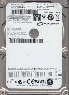 MHZ2120BH G2, PN CA07018-B052, Fujitsu 120GB SATA 2.5 Hard Drive