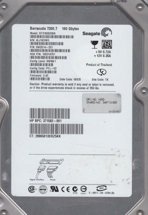 ST3160023AS, 4MT, TK, PN 9W2814-231, FW 3.43, Seagate 160GB SATA 3.5 Hard Drive
