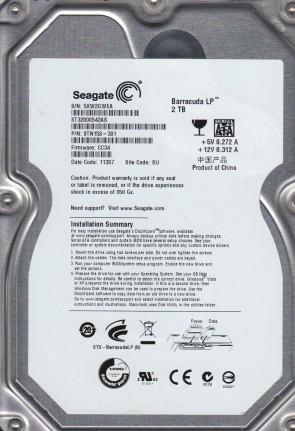 ST32000542AS, 5XW, SU, PN 9TN158-301, FW CC34, Seagate 2TB SATA 3.5 Hard Drive