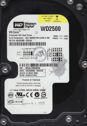 WD2500BB-55GUA0, DCM DSBHCTJAH, Western Digital 250GB IDE 3.5 Hard Drive