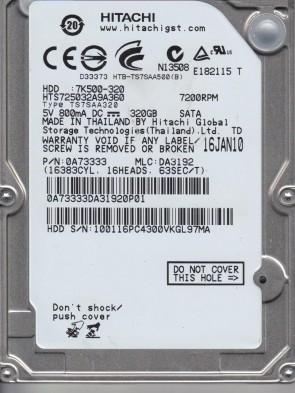 HTS725032A9A360, PN 0A73333, MLC DA3192, Hitachi 320GB SATA 2.5 Hard Drive