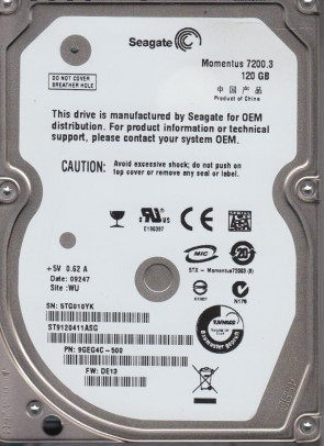 ST9120411ASG, 5TG, WU, PN 9GEG4C-500, FW DE13, Seagate 120GB SATA 2.5 Hard Drive