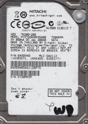 HTS722020K9SA00, PN 0A50940, MLC DA2112, Hitachi 200GB SATA 2.5 Hard Drive