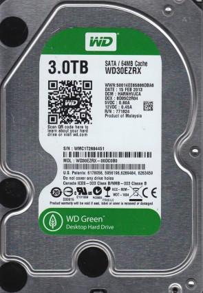 WD30EZRX-00DC0B0, DCM HARNHVJCA, Western Digital 3TB SATA 3.5 Hard Drive