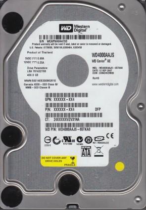 WD4000AAJS-65TKA0, DCM DHNCHV2MHB, Western Digital 400GB SATA 3.5 Hard Drive